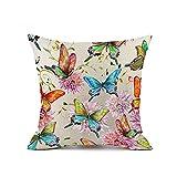Redland Art Bunt Schmetterling Blume Muster Baumwolle Leinen Zierkissenbezüge Fall Kissen Abdeckung Hause Dekor Geschenke 40x40cm