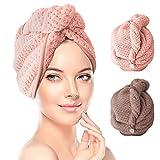 RenFox Turban Haartrockentuch 2 pcs Handtuch Kopftuch Schnelltrocknend saugfähig Haar Trocknendes...