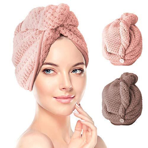 Renfox Turban Haartrockentuch 2 pcs Handtuch Kopftuch Schnelltrocknend saugfähig Haar Trocknendes Tuch für Mädchen Frauen - Tücher Frauen-packungen Und