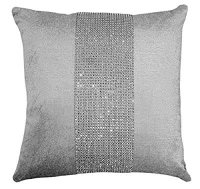 Silver / Grey Diamanté Sparkle Bling Velvet Chenille 17 inch Cushion Cover - cheap UK light shop.