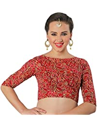 STUDIO SHRINGAAR TRADITIONAL BAGRU PRINTED PURE COTTON BOAT NECK READY TO WEAR SAREE BLOUSE WITH ELBOW LENGTH SLEEVES