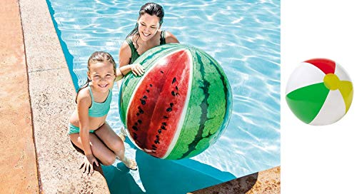 Bavaria-Home-Style-Collection Jumbo XL Riesen Wasserball 107 cm Wassermelone Melone für Strand , Meer , See , Freibad und Garten Wasser Ball Strandball Wasserbälle großer Wasserball Aufblasbarer Ball