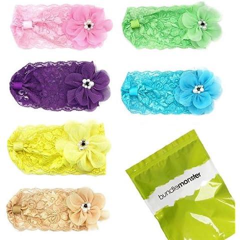 Bundle Monster - Set de 6 diademas elásticas de pelo para bebé - Tul, perlas falsas - Motivos florales