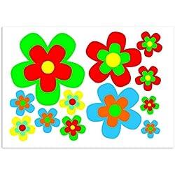 """'Pegatinas set """"flores margaritas, multicolor, A4arco, coche _ 209, varios colores, Verde, Rojo, Amarillo, Naranja, Azul, außenklebend para coche, camión, Moto, Art-Land, Mofa, Roller, vehículos, UV y RESISTENTE a la intemperie, para waschanlagen Adecuado"""