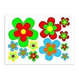 Aufkleber-Set retro Blumen I kfz_209 I Blümchen bunt I Flower-Power Sticker für Küche Bad Kinder-Zimmer Wohnmobil Bulli Roller PKW I wetterfest