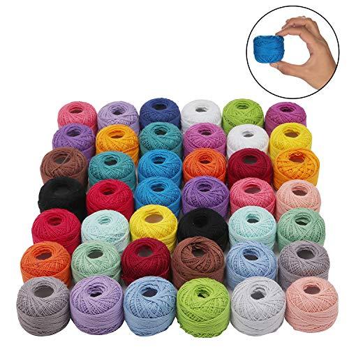 Cotone uncinetto - 42 filati cotone assortimento colori - cotone per uncinetto - filo per cotone - filo cotone per applique progetti - cotone filato - numero 5 filo gomitoli (74 m 5g)
