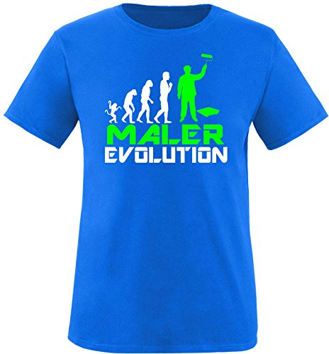 EZYshirt® Maler Evolution Herren Rundhals T-Shirt Royal/Weiss/Neongr
