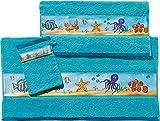 Erwin Müller Kinder-Handtuchset, Frottier-Set 3-tlg Unterwasser Fische blau Größe 70x110 cm + 50x70 cm + 15x21 cm - weich und saugstark, 1 Handtuch, 1 Badetuch, 1 Waschhandschuh, 100% Baumwolle