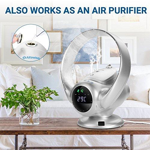 [ SOLDES ] Alfawise Ventilateur silencieux sans feuilles électriquepratique Ventilateur sans lame avec télécommande, ventilateur sécuritaire d'ions négatifs de 36W avec l'écran LED (Argent)