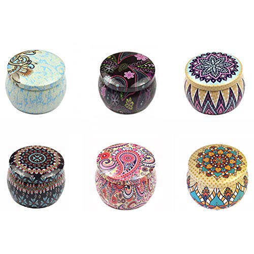 Candle Tin Jars, DIY Candle Making kit, Empty Retro Decor Tea Cans Candy Case Containers Storage Box for Home Decorations Christmas Valentine's Day Birthday Gifts -6PCS