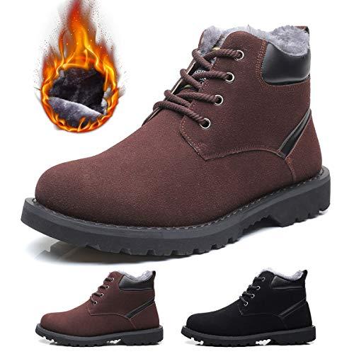 Gracosy stivali da uomo invernali, scarpe da neve in scamosciate pelle più velluto martin boots delicatamente morbido di piatto calzature sneaker impermeabili sconto natale regalo nero marrone grigio