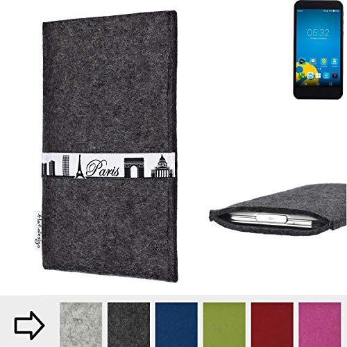 flat.design für Vestel 5000 Dual-SIM Schutzhülle Handy Case Skyline mit Webband Paris - Maßanfertigung der Schutztasche Handy Hülle aus 100% Wollfilz (anthrazit) für Vestel 5000 Dual-SIM