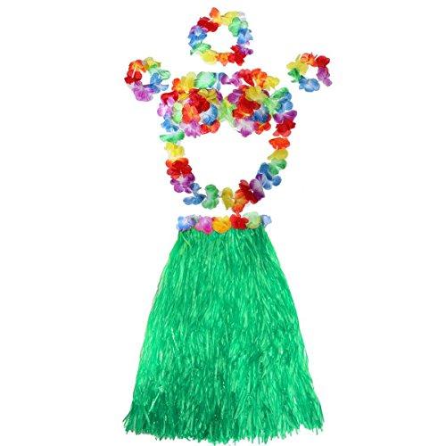 Tropical Hula Grass Dance Rock BH Blume Armbänder Stirnband Collier-Set (grün) (Hawaii-stirnband)