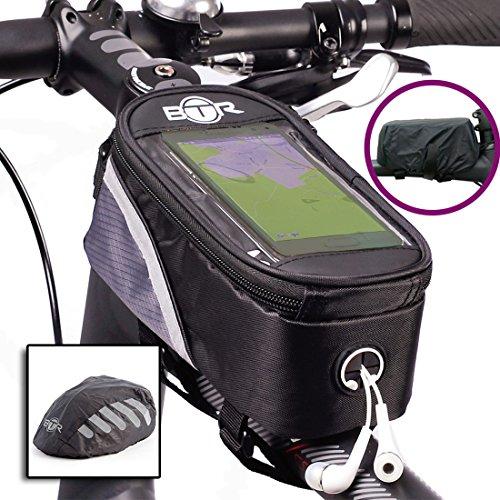 BTR Fahrrad-Rahmentasche Lenkertasche und Handy-Tasche. BTR Fahrradtasche und wasserdichten Regenschutz und Wasserdichter und sehr gut sichtbarer BTR-Regenüberzug (schawarz)