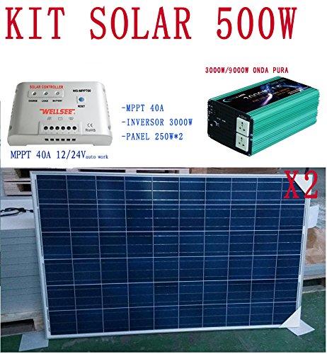 KIT DE 500W INC: - PANEL SOLAR * 2 -INVERSOR ONDA PURA 3000KVA 12V O 24V -REGULADOR MPPT DE 40A 12V/24V AUTO WORK