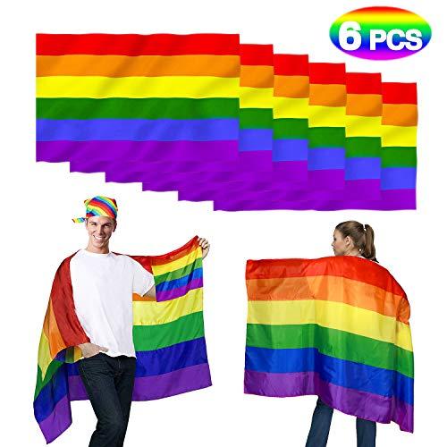 lagge Regenbogen Flagge Rainbow Flag Gay Pride Fahne LGBT Flag Banner Schal Lesbian Homosexuell Stolz Rainbow Fahne Schwulenstolz Bisexuell (6pcs) ()
