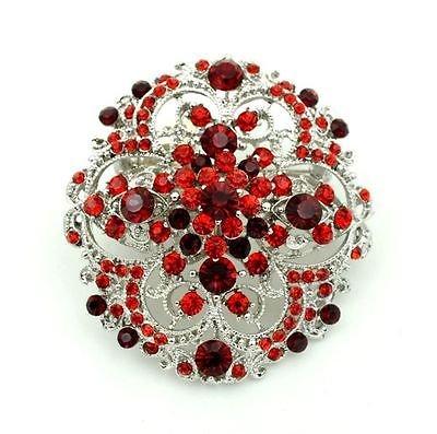 & in stile Vintage, argento, colore: rosso rubino di strass BR274 Spilla a forma di fiore