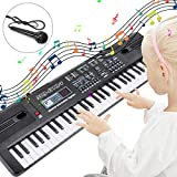 RenFox Kids Piano Keyboard 61 Keys Portable Digital Piano Keyboard Electric Keyboard Piano Educational Toy, Music Electronic Keyboard Piano Black with Microphone & Power Adaptor