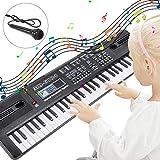 RenFox Tastiera per Pianoforte 61 Tasti Con Microfono & Alimentatore, Portatile Elettronica Digitale Tastiera Pianoforte Musicale Per Bambini Adulti Principiante (Nero)