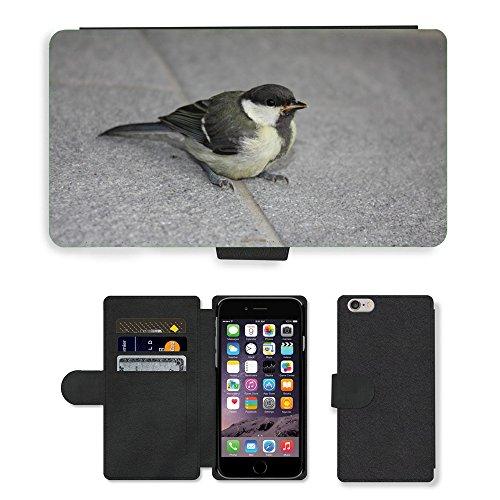 Just Mobile pour Hot Style Téléphone portable étui portefeuille en cuir PU avec fente pour carte//m00138477Mésange bleue Oiseau Assis/carrelage/Apple iPhone 6Plus 14cm