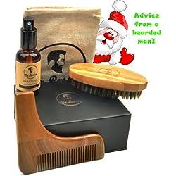 Kit cuidado de barba / kit de aseo para barba con artículos de CALIDAD PREMIUM: cepillo de bambu, peine de plantilla hecho de sándalo, aceite ORGÁNICO y bolsa de transporte, todo en una caja de regalo. Aceite 100% NATURAL sin fragancia, perfecto para pieles sensibles. Ideal para el kit de initio o para regalo de Navidad, cumpleaños, día del padre o de San Valentín