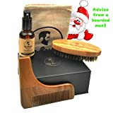 Lussuoso kit di cura per barba e baffi con un pennello, un pettine di modellatura, olio e borsa da trasporto, tutto in una confezione regalo. 100% NATURALE olio senza profumo. QUALITÀ SUPERIORE immagine