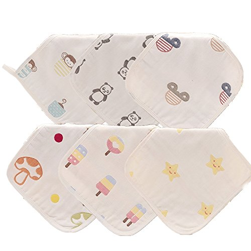 Finalhome 6er Pack saugfähig 6-Schicht-Bio Baumwolle Jacquard Gaze Kleinkind Waschlappen, 25 x 25 cm Infant Gesicht und Handtuch … (Bio Waschlappen)