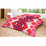 EIN SOF 100% Cotton Double Bedsheet (90x100 Inches) With 2 Pillow Covers Combo Set, Double Bed, King Size Cotton Bed Sheet, 3D Printed Technology, Geometric Chequered Pattern, 150 TC, Red & Pink