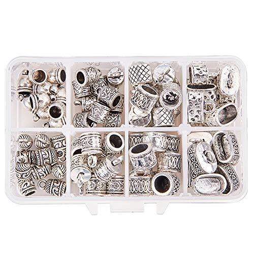 PandaHall Elite 80 Stück/Box tibetischen Stil-Legierung Cord endet, 8 gemischte Formen Cord endet Caps für Schmuckherstellung, Antik Silber