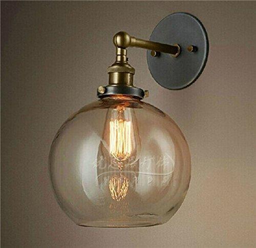 Wandleuchte Globen Glas (GBYZHMH Wandleuchten industrielle Retro Loft Bar Küche Flur Schalter Wandleuchte Lampe Leuchte Globen transparentes Glas Lampenschirm (Bronze) dekorative Wandleuchten)