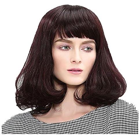 "Meydlee Parrucche13"" elegante lungo Bobo parrucca sintetica per donne traspirante Rose Net e gratuito parrucca Cap e pettine Brown"