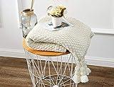 GXK Mit Quasten Sofabett Couch 100% Baumwolle Zopfmuster Decke Schöne Dekorative Decke 130X170cm Cremefarben