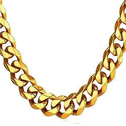 U7 12mm Herren Halskette 18k vergoldet Edelstahl Panzerkette Gliederkette für Männer Gold Ton HipHop Biker Rocker Kette (Länge 71cm)