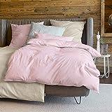 Zeitgeist Bettwäsche 155x220cm, flauschig warme Biberbettwäsche, 100% Baumwolle, grau, Set aus Bettbezug 155x220 und Kissen 80x80cm, Reißverschluss