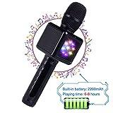 Drahtloser Bluetooth-Mikrofon-Lautsprecher/Karaoke, geeignet für Smartphone oder PC, mit LED-Licht und Änderung der Soundeffekte, Tragbarer Lautsprecher für Outdoor Party KTV, 2200 mAh,Black