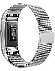Fitbit Charge 2 Bracelet, Hanlesi Acier Inoxydable Strap Wrist Bande Replacement Avec Métal Fermoir pour Fitbit Charge 2 Fitness Wristband