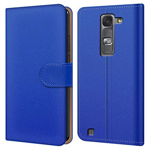 Conie BW18212 Basic Wallet Kompatibel mit LG Magna, Booklet PU Leder Hülle Tasche mit Kartenfächer und Aufstellfunktion für Magna Case Blau