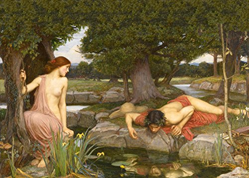 "World of Art Kunstdruck/Poster, Motiv ""Echo und Narziss"", Detail, von John William Waterhouse 1903, 250 g/m², glänzend, A3"