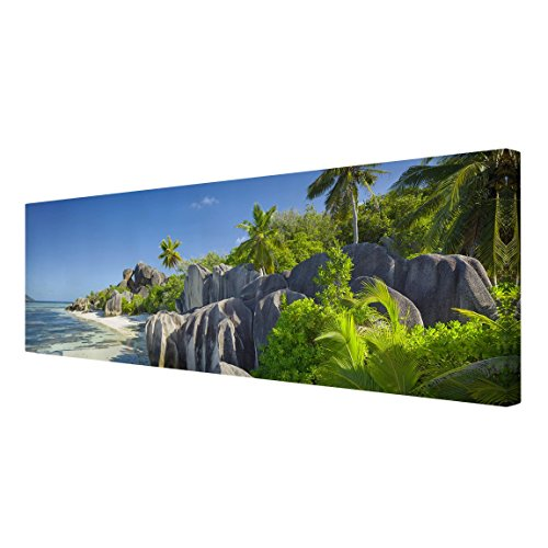 Bilderwelten Leinwandbild - Traumstrand Seychellen - Panorama Quer, Leinwand Leinwandbild - XXL...