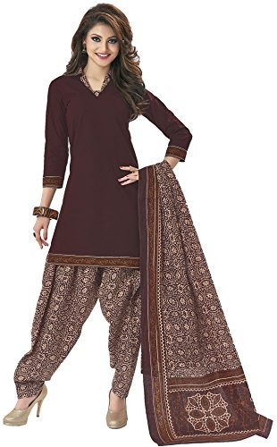 Shree Ganesh Cotton Brown Plain Unstitched Patiala Suit Dress Material