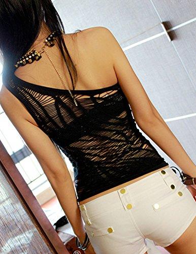 Sitengle Damen Tops Netz-Garn Perspektive Wohnung Schultern Trägerlos Langarmshirt T-Shirts Tee Nachtclubs Party Bluse Oberteil Clubwear One Shoulder