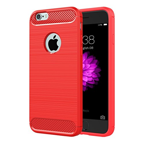 Phone case & Hülle Für iPhone 6 / 6s, Brushed Texture Fiber TPU Rugged Armor Schutzhülle ( Color : Red ) Red