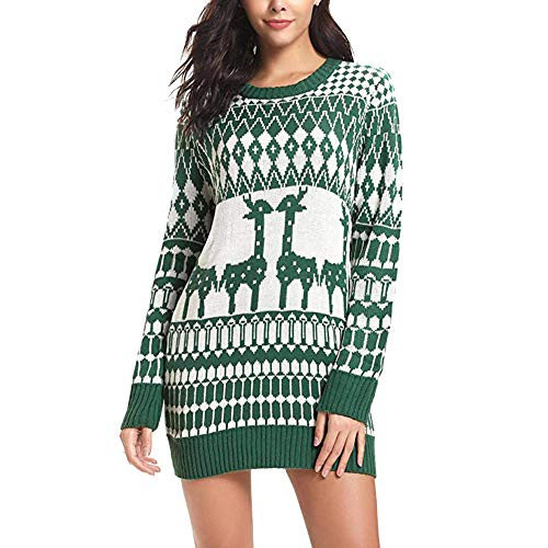 Preisvergleich Produktbild Toasye Women Christmas Long Sleeve Crew Neck Mini Dress, Ladies Casual Christmas Graphic Embroidery Knitted Pullover Sweater