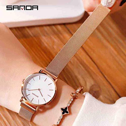 OLUYNG Reloj de Pulsera Reloj de Moda para Mujer, Marca, Vestido de Oro Rosa para Mujer,...