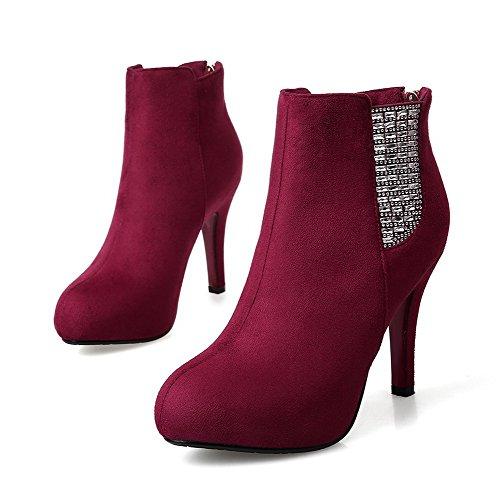 VogueZone009 Damen Ziehen auf Hoher Absatz Eingelegt Stiefel mit Beschlagene Strass, Aprikosen Farbe, 39