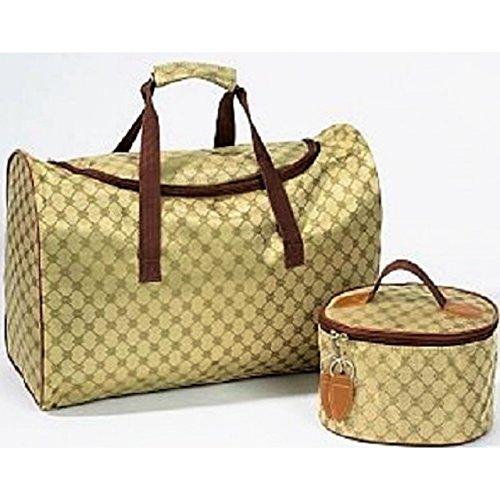 2tlg Reisetaschen-Set Tres Chic braun Wochenend-Reise Kosmetik Tasche Urlaub Baden