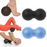 lunji Ball de masaje doble bola de Lacrosse Crossfit, forma Cacahuète–medicinales para el dos, los, piernas y Plus 16x 8cm, azul, 6x8cm