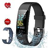 Semaco Pulsera Actividad Inteligente Pantalla Color de Deporte GPS Pulsómetro Monitor de Ritmo Cardíaco Impermeable IP68 Reloj Inteligente Podómetro para Hombre Mujer o Niños (Negro+Azul)
