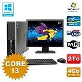 Pack PC HP Compaq 6200 Pro SFF Core i3 3.1GHz 4GB 2To DVD WIFI W7 + Bildschirm 22