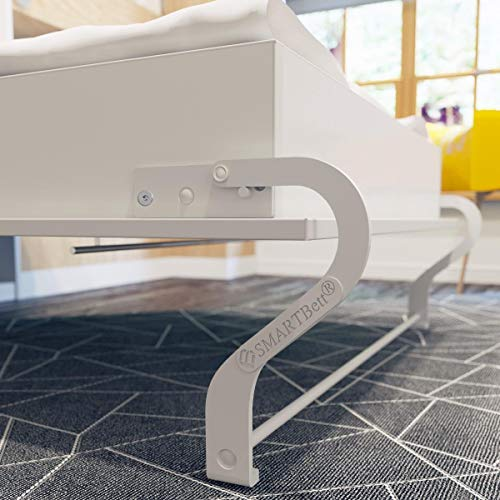 SMARTBett Standard 160×200 Vertikal Weiss Komfort Lattenrost Schrankbett | ausklappbares Wandbett, ideal geeignet als Wandklappbett fürs Gästezimmer, Büro, Wohnzimmer, Schlafzimmer - 6